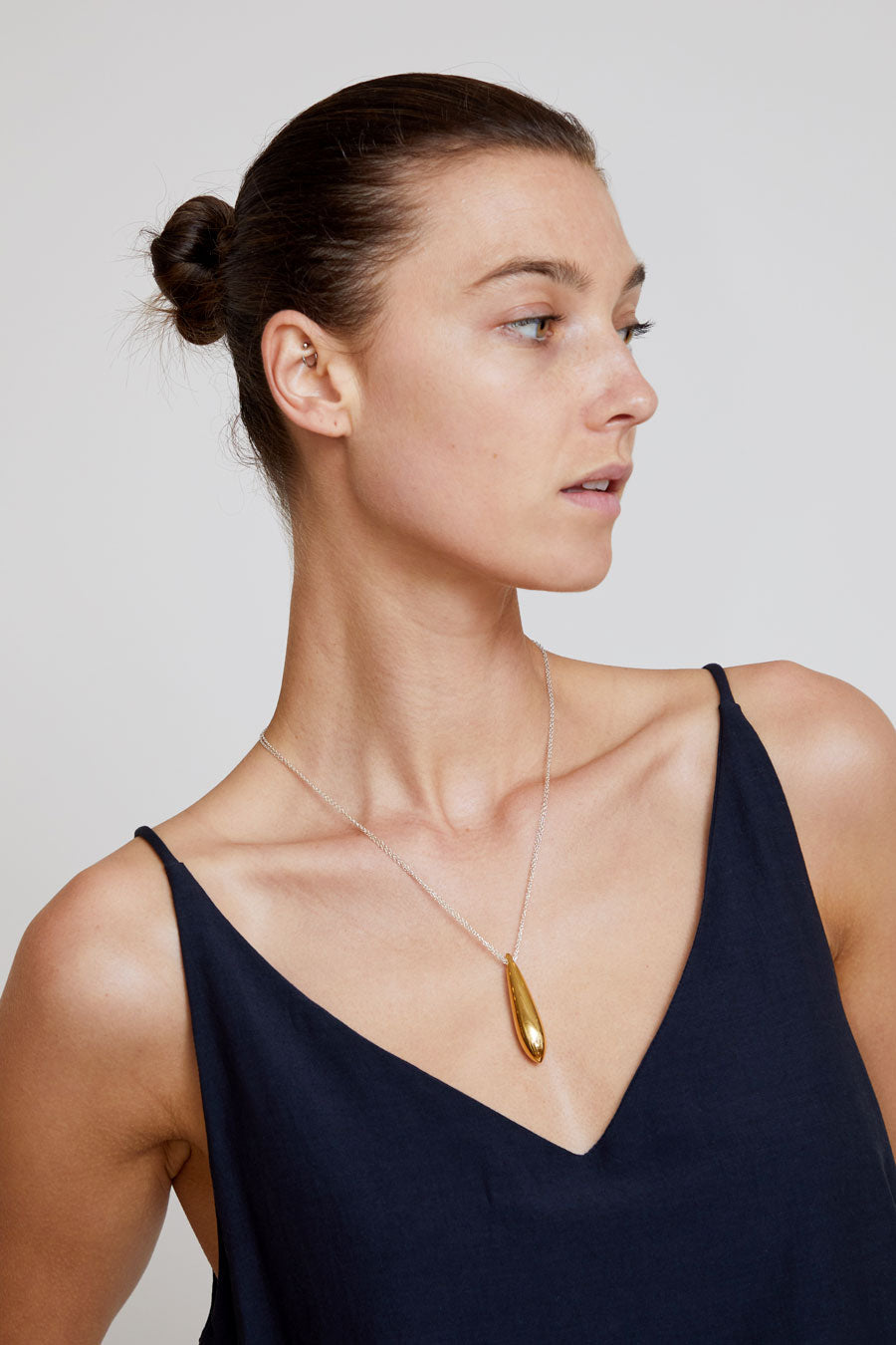 Agmes Double Chain Audrey Pendant in Gold Vermeil