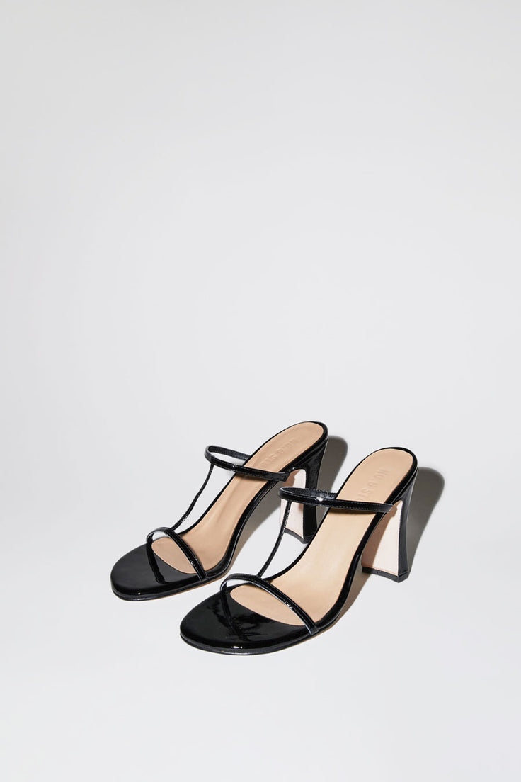 Image of No.6 Alexandra T-Strap in Black Patent
