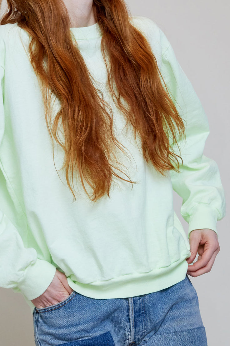 Image of Audrey Louise Reynolds Unisex Pullover Sweatshirt in Neon Green Algea and Goldenrod