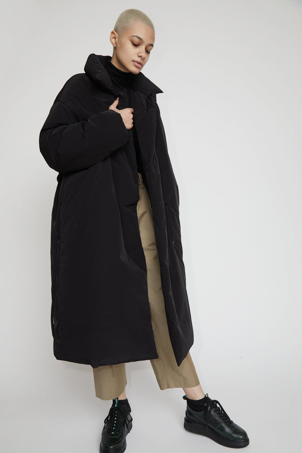 Amomento Duck Down Puffer Coat in Black