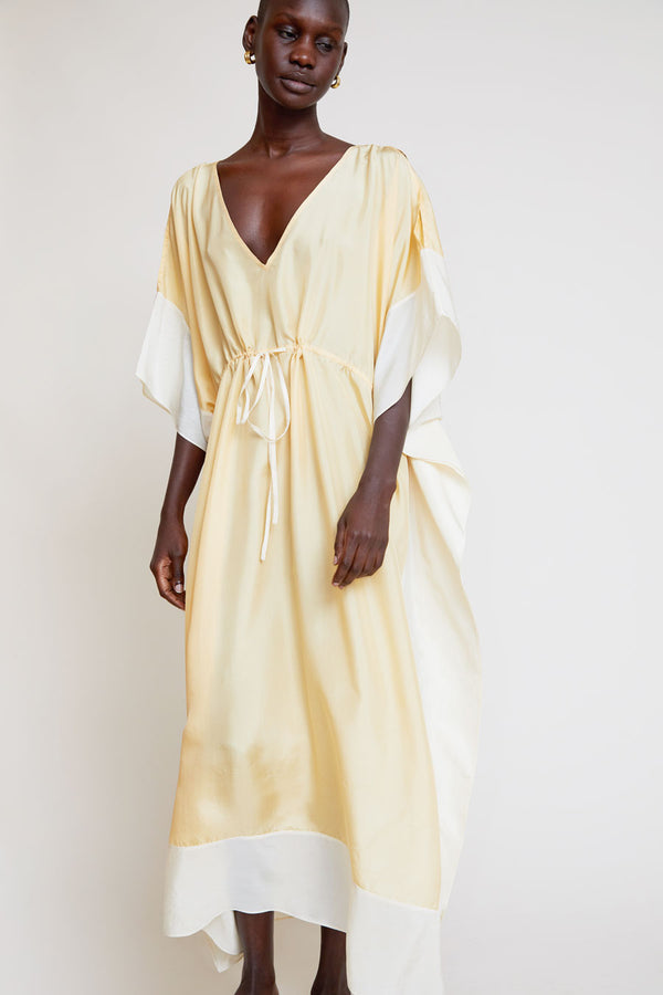 Anaak Alma Butterfly Caftan in Apricot / Cream
