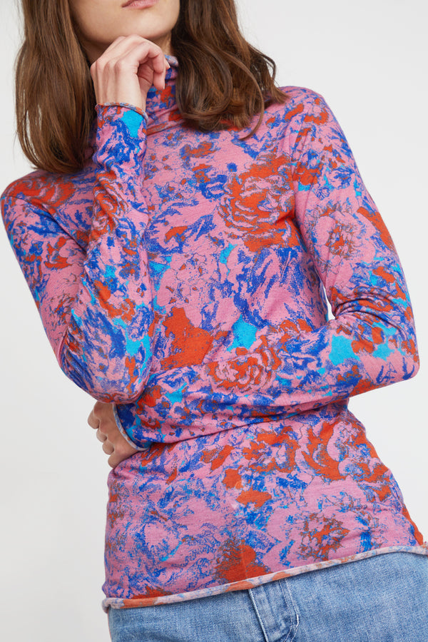 Anntian Rolli Turtleneck in Print P Pink Flowers