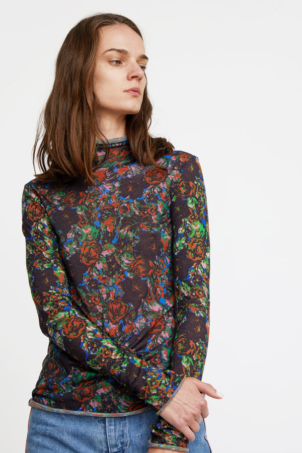 Anntian Rolli Turtleneck in Print MW Black Flowers