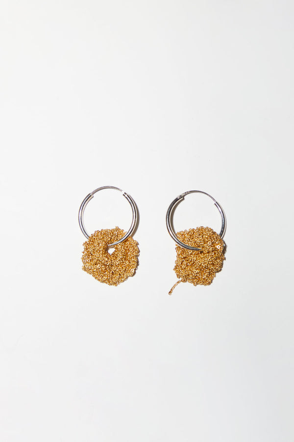 Arielle de Pinto Pansy Hoops in Sterling Silver and Gold Vermeil