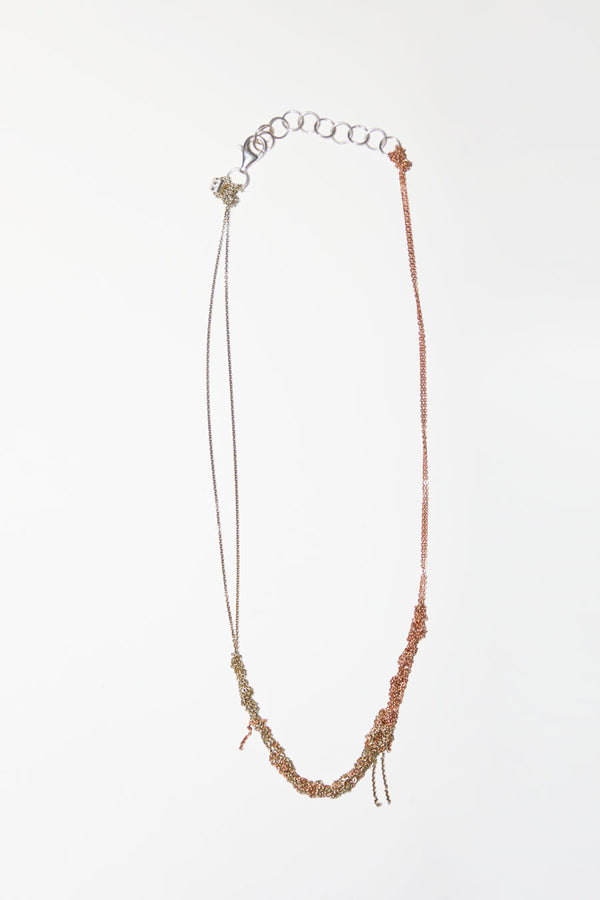 Arielle de Pinto 2-Tone Clasped Skinny Necklace in Haze and Rose Gold