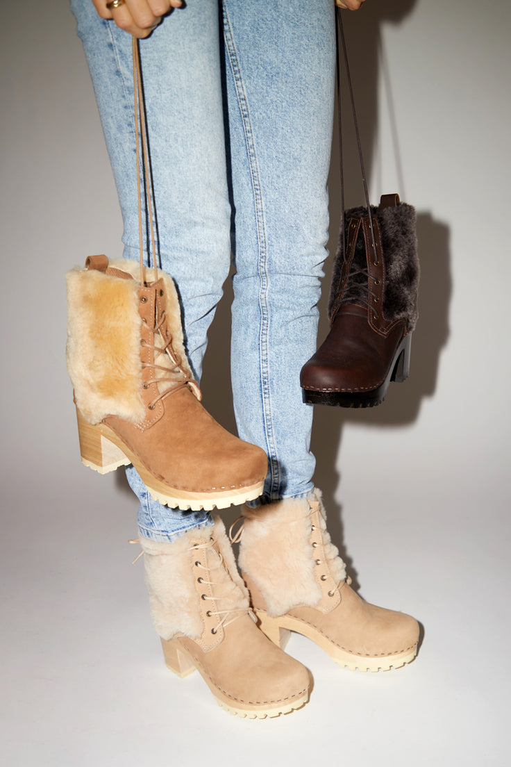 Image of No.6 Audubon Shearling Lace Up Clog Boot on High Tread in Bone Suede on White Base