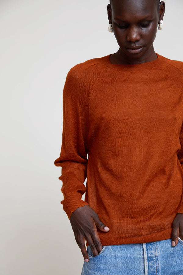 Aymara Fine Ribbed Knit Pullover in Rust