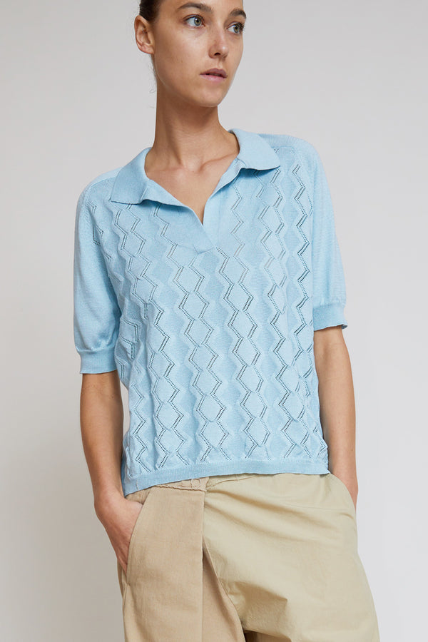 Aymara Polo Shirt in Fantasy Knit in Breeze