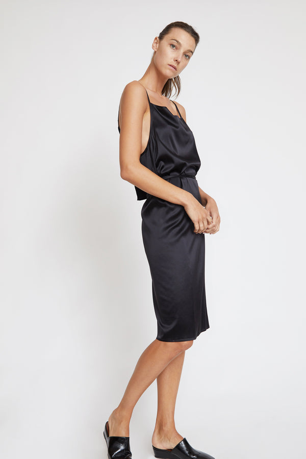 Baserange Yumi Apron Dress in Black Satin