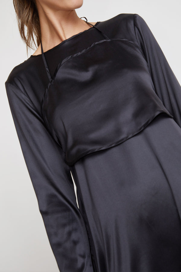 Baserange Toteki Dress in Black Satin