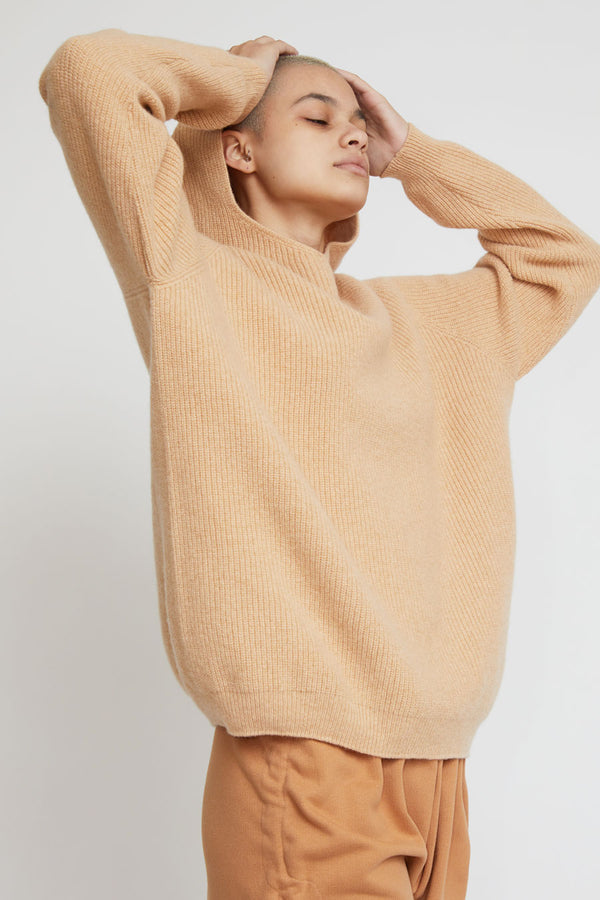 Baserange Danube Hoodie in Gravel Beige and Rose Merino Wool