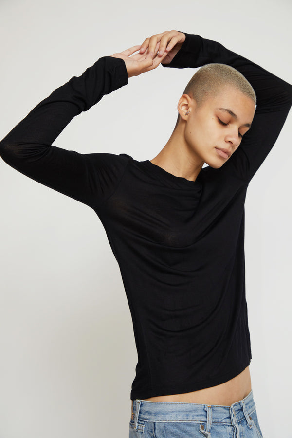 Baserange Long Sleeve Bamboo Tee in Black