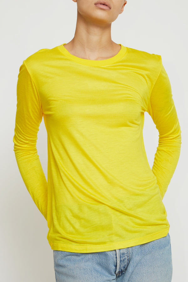 Baserange Long Sleeve Tee in Braid Yellow Bamboo Jersey