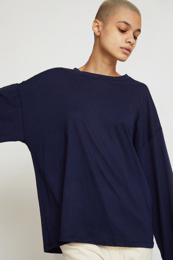 Baserange Michael Long Sleeve Tee in Navy