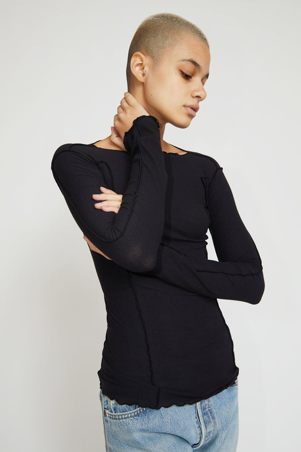 Baserange Omato Long Sleeve Top in Black Cotton Rib