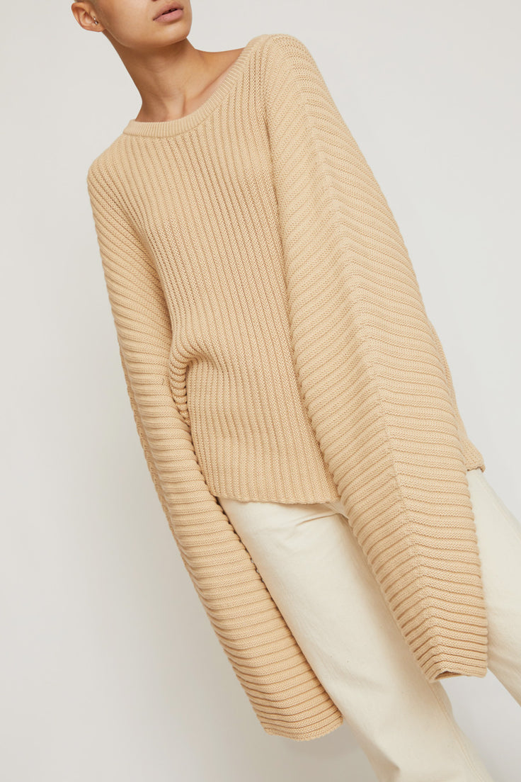 Image of Baserange Kai Cotton Rib Sweater in Corda Off-White