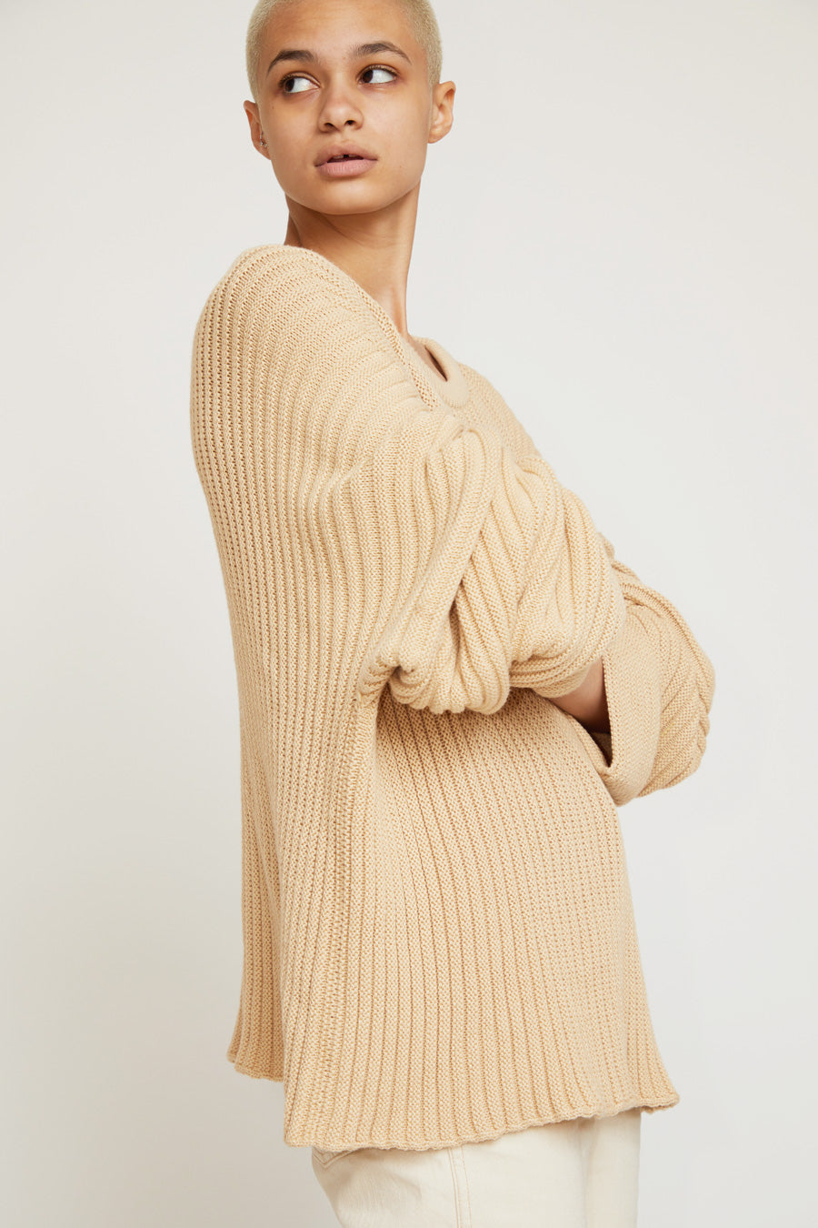 Baserange Kai Cotton Rib Sweater in Corda Off-White