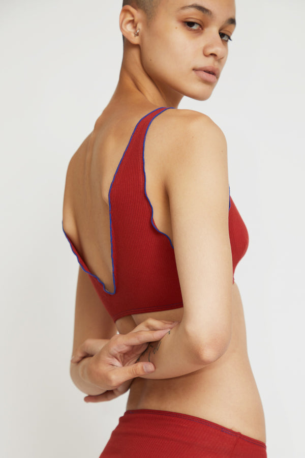 Baserange Pam Bra in Cherry Red / Blue Trim Rib Cotton