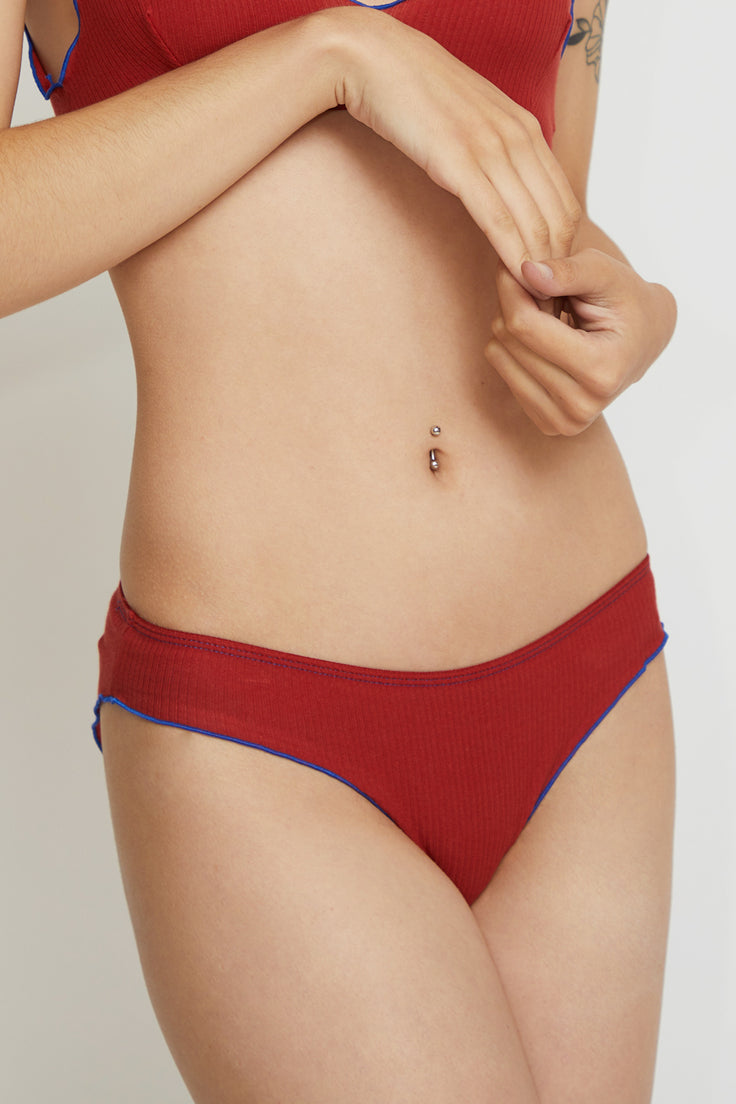 Image of Baserange Pam Pants in Cherry Red / Blue Trim Rib Cotton