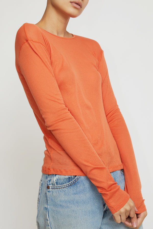 Baserange Puig Long Sleeve Top in Burnt Orange Cotton Gauze