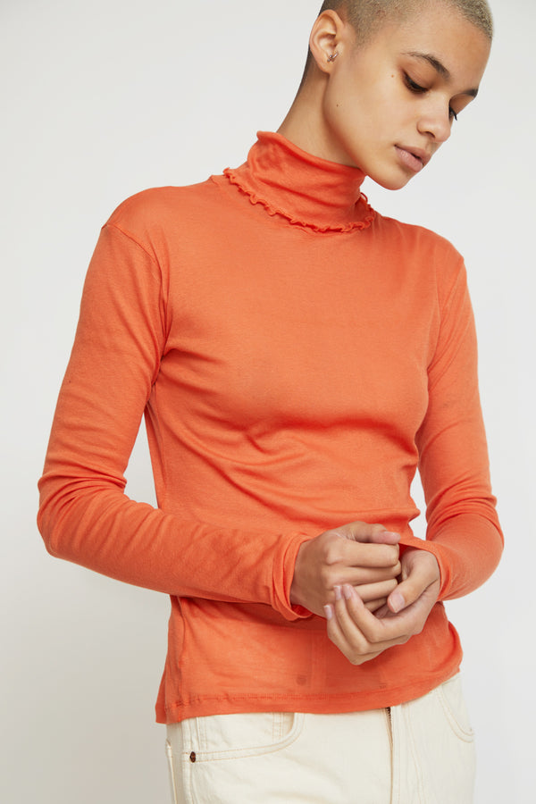 Baserange Puig Turtleneck in Burnt Orange Cotton Gauze