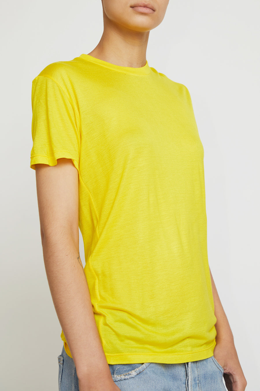 Baserange Tee Shirt in Braid Yellow Bamboo Jersey