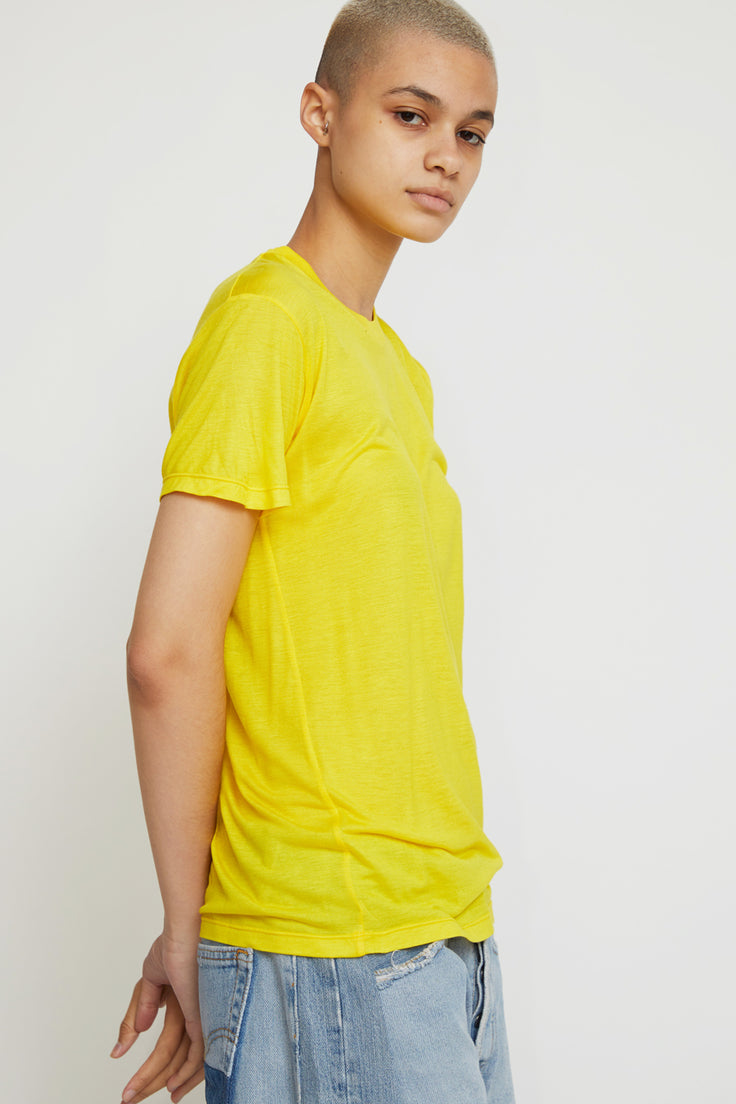 Image of Baserange Tee Shirt in Braid Yellow Bamboo Jersey