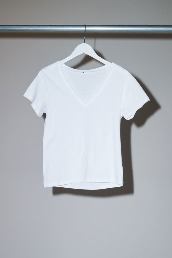 Baserange V Neck Tee in Off-White
