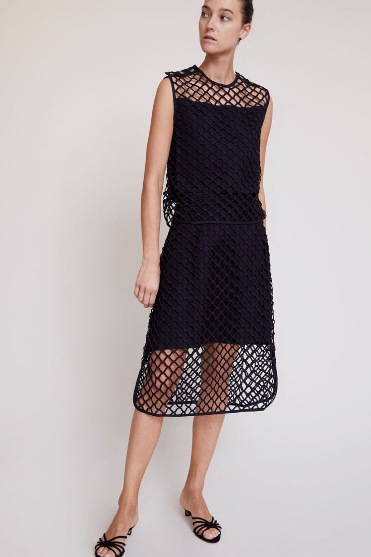 Image of No.6 Beacon Macrame Top in Black Cotton