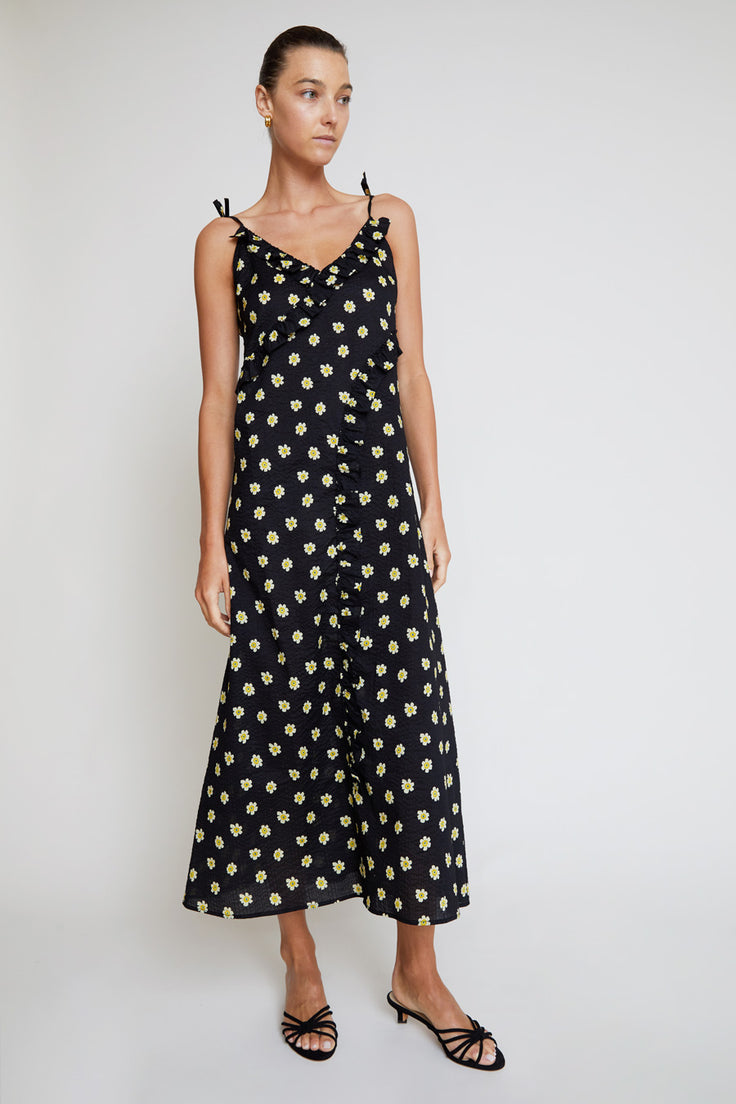 Image of Belize Kim Frill Dress in Black Daisy