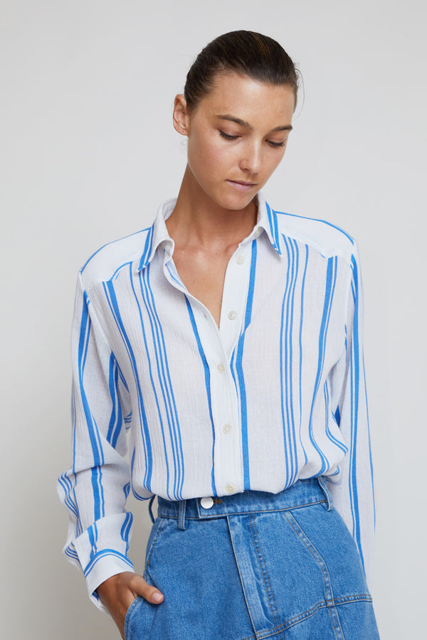Belize Ryan Stripe Shirt in Blue / White Greek Stripe