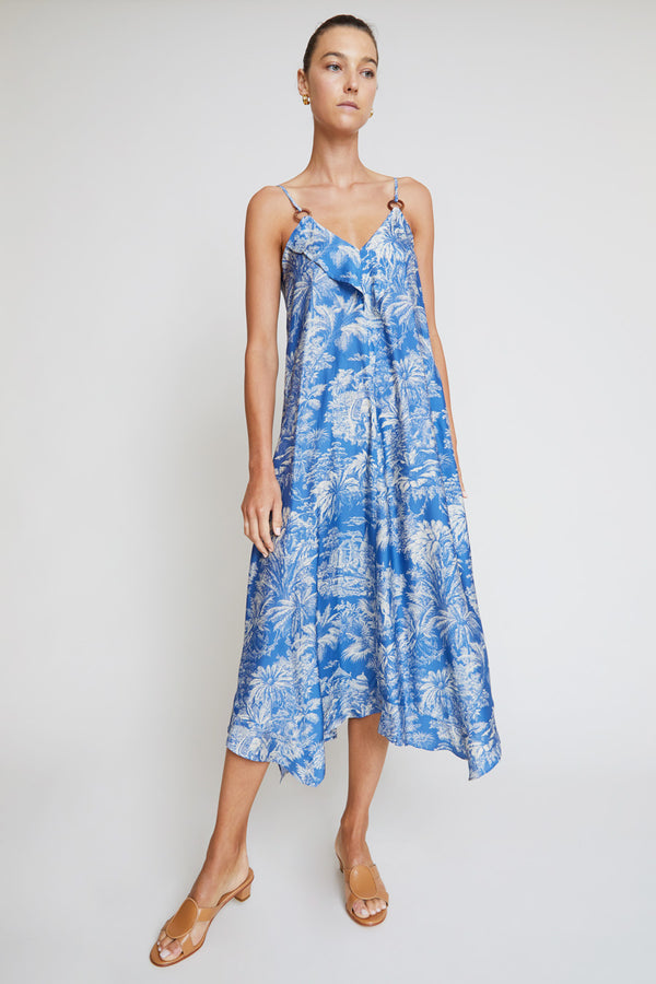 Belize Sada Strap Dress in Azure Colonial Print