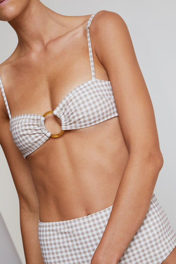 Belize Hailey Bandeau Top in Sand Check