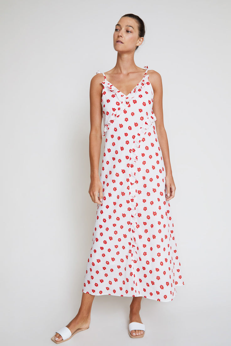 Image of Belize Kim Frill Dress in White Daisy
