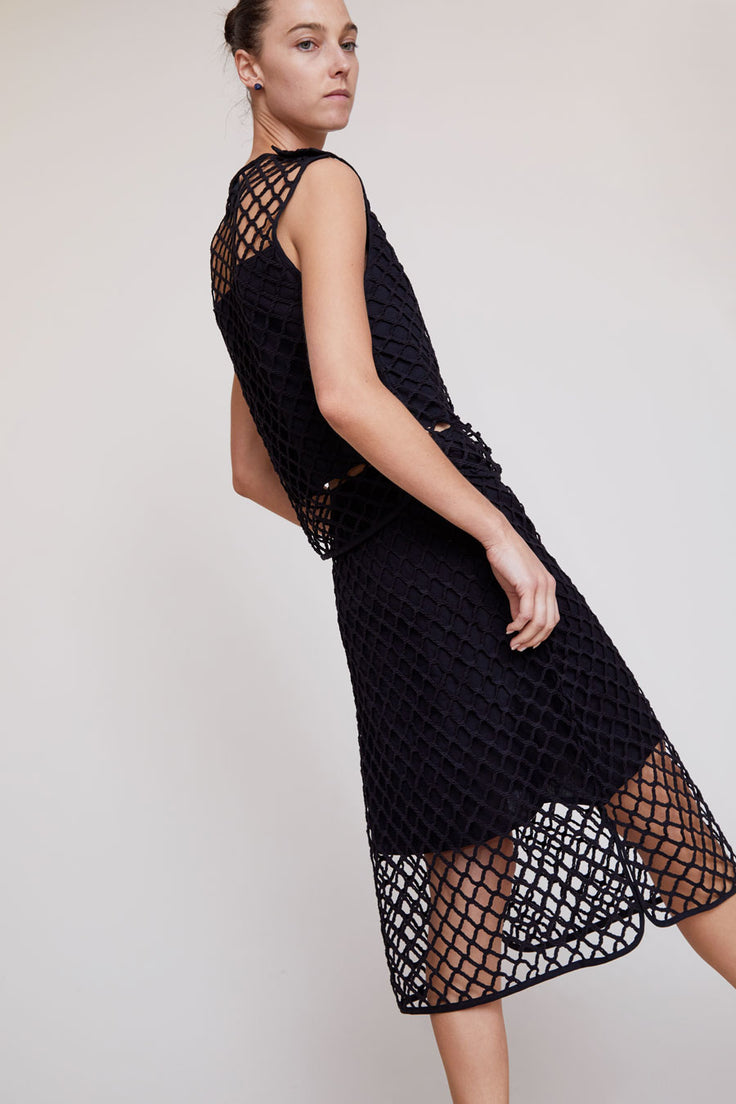 Image of No.6 Carla Macrame Skirt in Black Cotton