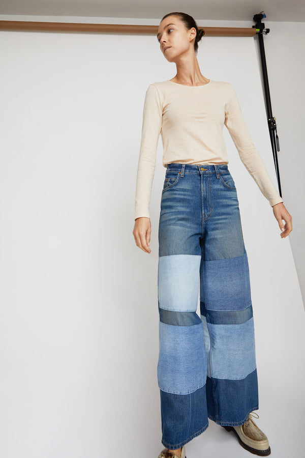 B Sides Claude High Flare Jean in Awning Stripe Patchwork
