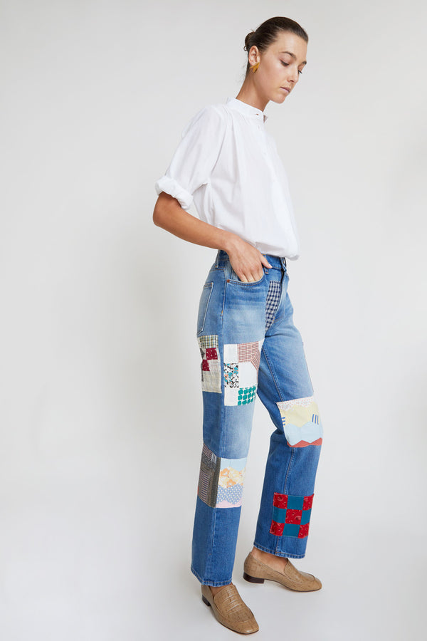 B Sides Arts Mid Straight Jean in Viva Wash with Checkered Antique Quilt Patchwork