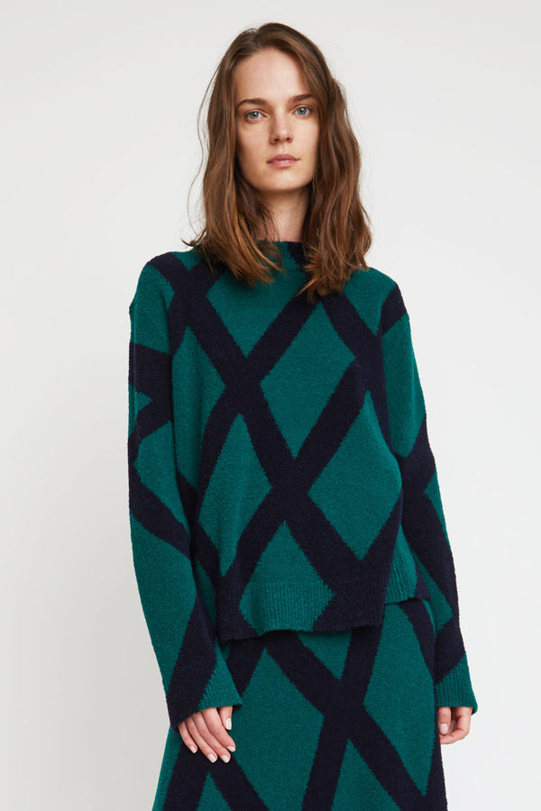 Christian Wijnants Kasia Sweater in Bottle Green and Navy Intarsia