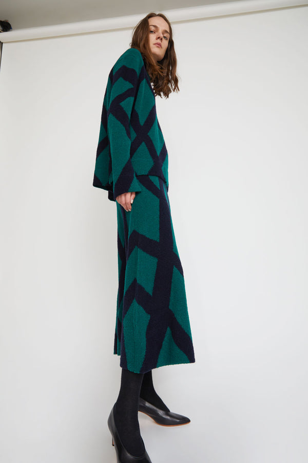 Christian Wijnants Kosara Skirt in Bottle Green and Navy Intarsia
