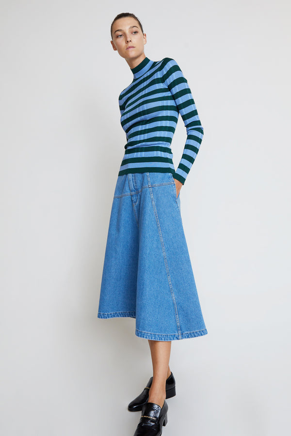 Christian Wijnants Saiba Skirt in Light Blue Denim