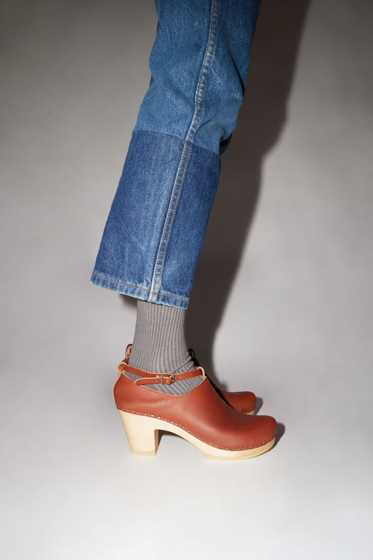 Image of No.6 Classic Strap Clog on High Heel in Bourbon