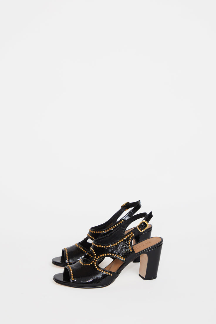 Image of No.6 Cleo Heel in Black Studs