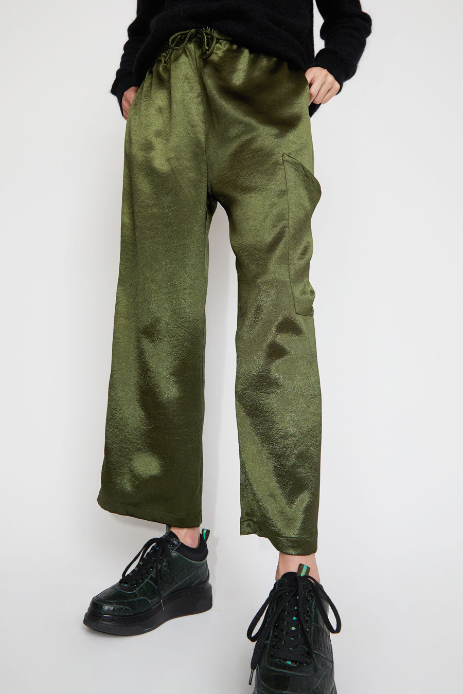Collina Strada Dollhouse Pant in Forest Satin Crepe