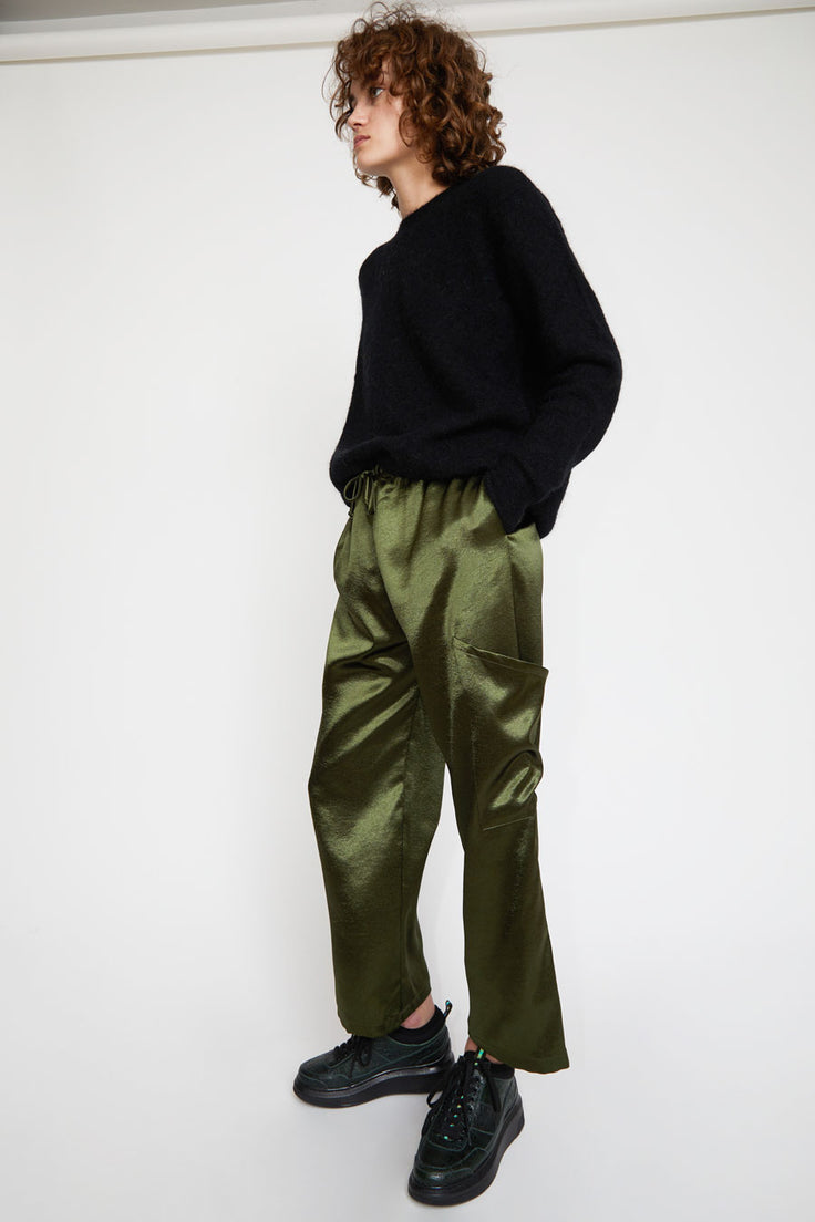 Image of Collina Strada Dollhouse Pant in Forest Satin Crepe