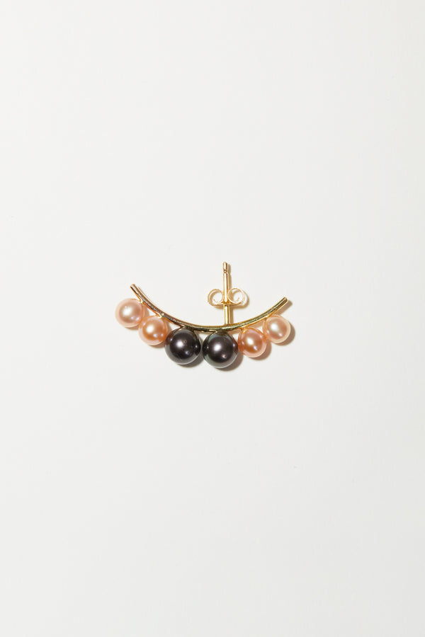 Concrete Collective Six Pearl Lobe Cuff in 14K Pink and Dark Pearls