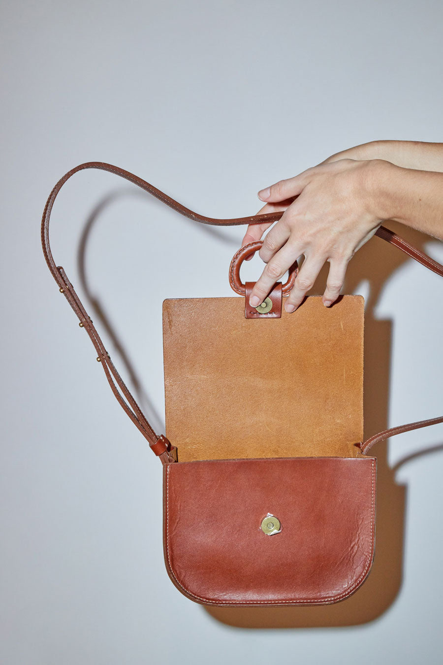 Crescioni Mini Logan Bag in Saddle Brown