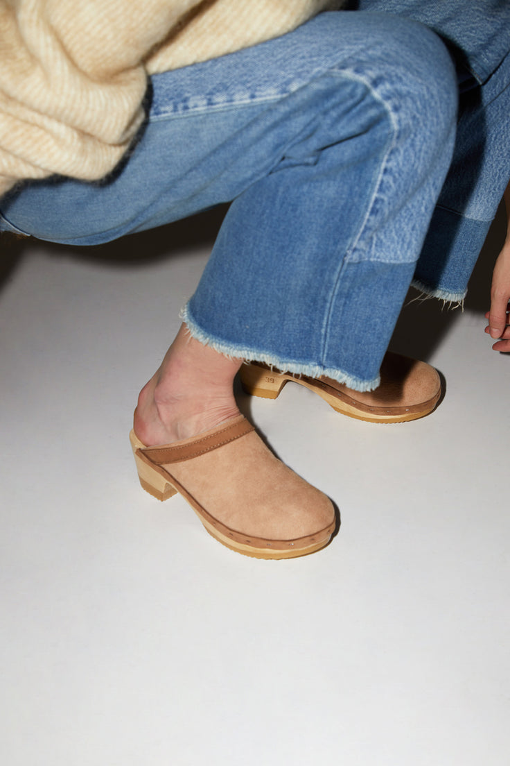 Image of No.6 Dakota Shearling Clog on Mid Heel in Fawn Suede