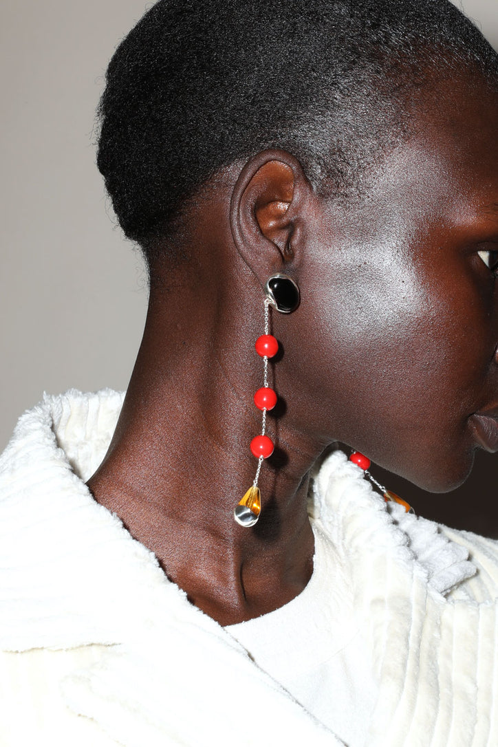 Image of Faris Ovo Sway Earrings in Silver, Onyx, Red and Yellow Glass