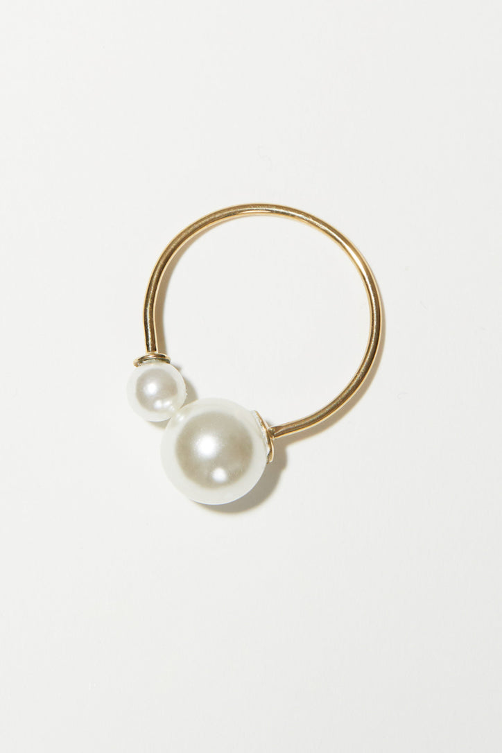 Image of Gabriela Artigas Asymmetrical Suspended Pearl Ring in 14K Yellow Gold