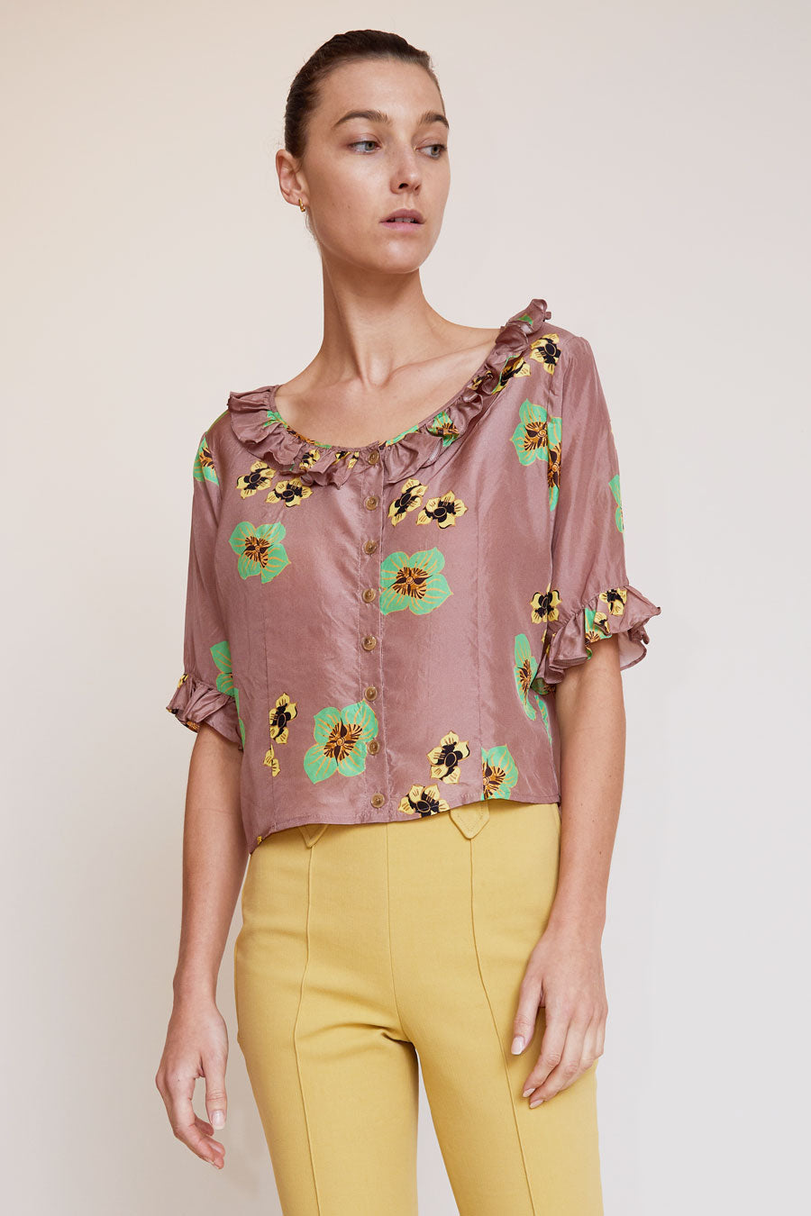 No.6 Georgia Ruffle Top in Blush Amalfi